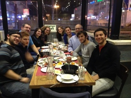 Rabbis Resnick and Perten in Israel Dinner with Staff
